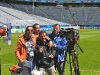 Al-Jazeera-crew-setting-up-on-pitch-dugout-side